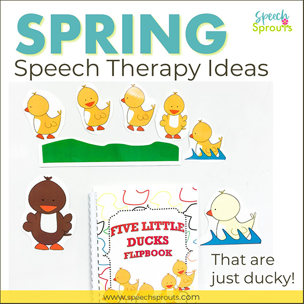 Spring Speech Therapy Ideas- The Five Little Ducks Song  magnet board story-telling pieces and an interactive flipbook