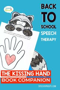 Speech therapy back to school activities for The Kissing Hand - Who would you give a kissing hand to? Color the heart shown in the hand. A simple writing activity from the Kissing Hand book companion by Speech Sprouts