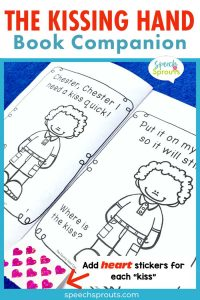 """A BW printable mini book reader to go with The Kissing Hand book.  Practice body part vocabulary, s-blends and initial /k/ words with this activity. It reads… """"Chester, I need a kiss quick! Put it on my hand so it will stick."""" One of the book companion activities from Speech Sprouts"""