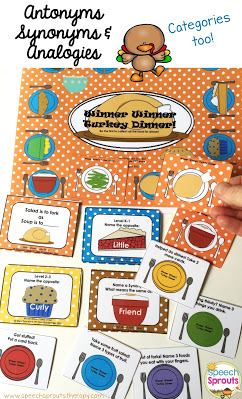 Winner Winner Turkey Dinner speech therapy game has cards for analogies, synonyms, antonyms and categories. Great for language practice in elementary, kids collect the dinner plate cards to win this fun game. #speechsprouts