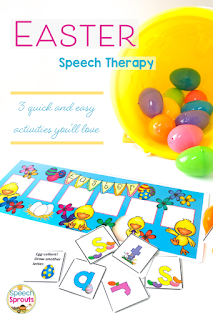 3 Quick and easy Easter Speech Therapy Activities that are a must-have this spring for preschool and elementary students! SLPs love the ability to target multiple goals at once whether it's language, articulation or fluency, making them ideal for mixed groups. #speechsprouts #speechtherapy #Easter
