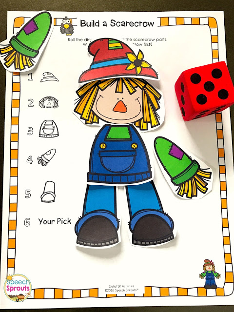 The materials list you need for preschool speech therapy including this Build a Scarecrow Game #speechsprouts  #speechtherapy #preschool  #speechtherapymaterials #speechtherapyarticulation #speechtherapylanguage #fallspeechtherapyactivities