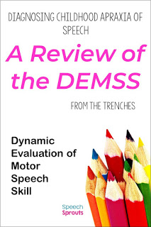 Diagnosing childhood apraxia of speech (CAS) in young children can be tricky- the DEMSS is a new tool to assess for CAS and help SLPs plan speech therapy treatment for childhood apraxia of speech. Read this post to find out why every SLP needs this in their toolkit. #speechsprouts #apraxia #speechtherapy #speechandlanguage