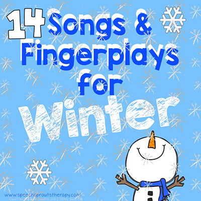 14 Winter songs and fingerplays which are terrific preschool speech therapy activities to boost speech and language skills. Do you love penguins, bears and snowmen? This post has you covered! #speechsprouts #preschool #kindergarten #speechandlanguage #winter