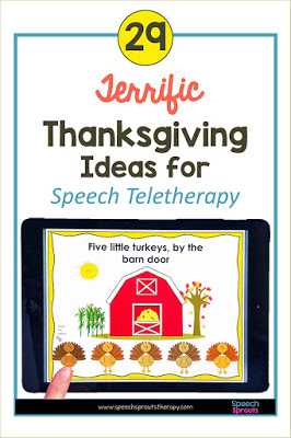 Thanksgiving picture books, FREE games and more Thanksgiving teletherapy speech activities for kids. The interactive digital Five Little Turkeys story with a red barn and turkeys shown on an ipad here is terrific for preschool and kindergarten teletherapy. #speechsprouts