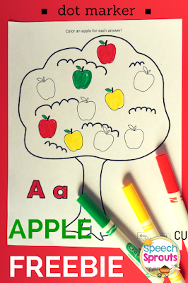 Apple Freebie for Fall- comes in 10 & 20 apples for data-taking help. Color version too. Great for dot marker, bingo chips.www.speechsproutstherapy.com