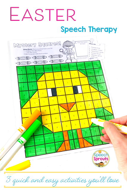 You'll love how easy it is to target multiple goals at once with these fun no-prep Easter Speech therapy activities!  Mystery squares are just one fun activity in this huge pack. Language prompts are included in handy paste-on quick lists, or use it open-ended for any target. One of 3 Quick and Easy Easter Speech Therapy Activities that are a must-have this spring! Head over to the post to see the other two.   #speechsprouts #speechtherapy #easter