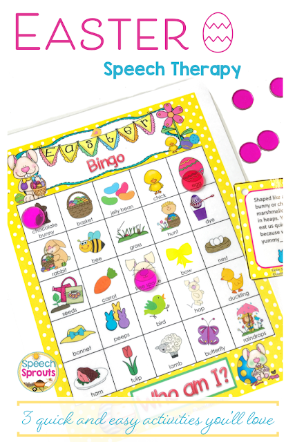 You'll love how easy it is to target multiple goals at once with this super-engaging Easter Bingo Riddles game.  It's a hands-down kid favorite for preschool and elementary language and articulation students, they love guessing the riddles. One of 3 Quick and Easy Easter Speech Therapy Activities that are a must-have this spring! Head over to the post to see the other two.   #speechsprouts #speechtherapy #easter