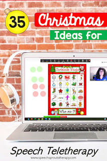 35 Terrific FREE Christmas Speech Therapy Ideas for Teletherapy this Christmas Bingo game shared on Zoom as shown on a laptop. #speechsprouts