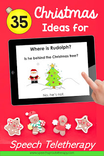 "35 Terrific FREE Christmas Speech Therapy Ideas for Teletherapy. This ipad is showing a no-print ""Where is Rudolph? activity with Santa and a Christmas tree. #speechsprouts"