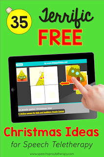 35 Terrific FREE Christmas Speech Therapy Ideas for Teletherapy including the Christmas 4-part picture puzzle game shown an ipad.#speechsprouts