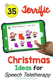 35 Terrific FREE Christmas Speech Therapy Ideas for Teletherapy. This ipad is showing a digital Christmas Following Directions Activity with different sizes and colors of Santa and Christmas stockings. #speechsprouts #speechtherapy
