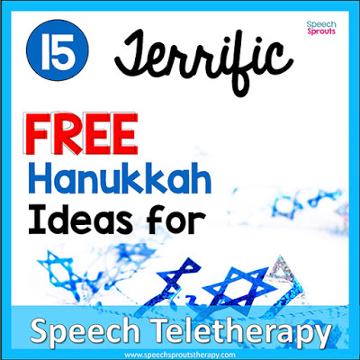 15 Free Hanukkah Speech Therapy Ideas for Teletherapy  by Speech Sprouts. A blue and white image with a Star of David garland.