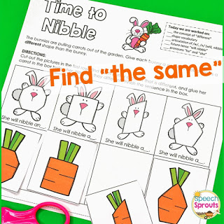 "Folder games with bunnies and carrots to teach the concepts of ""same"" and ""different"" in speech therapy this spring."