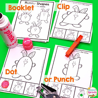 Bunny shapes and carrot shapes: activities to teach the concepts of same and different in preschool speech therapy.