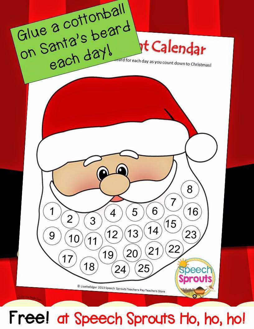Free Santa Advent Calendar or craft for Christmas