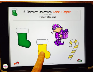 Following directions activities for Christmas speech therapy! Interactive, no-print fun for tablet, whiteboard or computer, or you can print it out as cards. Leveled activities with 1-3 elements: size, color and Christmas objects. #speechsprouts #speechtherapy #Christmas #speechandlanguage #followingdirections #sped