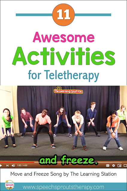 11 Awesome Activities for Speech Teletherapy! Try a movement break mid-session like this YouTube video from the Learning Station to make your speech therapy sessions online engaging and fun. Read the post for more ideas. #speechsprouts #speechtherapy #teletherapy