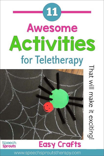 11 Awesome Activities for Speech Teletherapy to address speech and language goals. Try easy crafts like this construction paper spider craft with materials parent already have at home to make your speech therapy sessions online exciting. Read the post for more ideas. #speechsprouts #speechtherapy #teletherapy