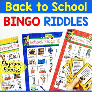 3 colorful bingo boards with a back to school theme. The calling cards have rhyming riddle clues for children to guess!