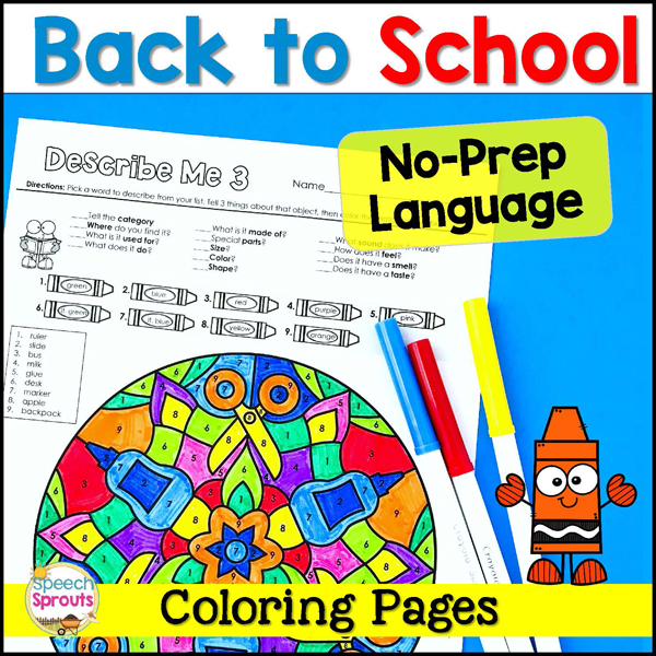 Back to school No-Prep Language Mandala Coloring pages for speech therapy-