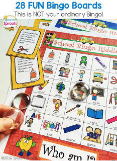 Back to School Bingo Riddles Speech Therapy activity  www.speechsproutstherapy.com