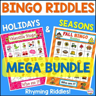 Bingo Riddles Holidays and Seasons Mega Bundle with rhyming riddles! The Valentine bingo board and Fall bingo board are just two of the 11 fun speech therapy games in this bundle!