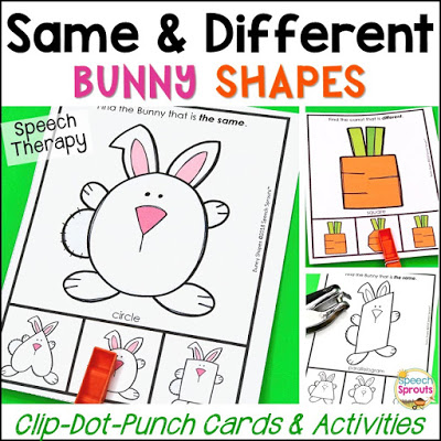 Clothespin task cards with bunny shapes and carrot shapes to teach the concepts of same and different in preschool speech therapy.