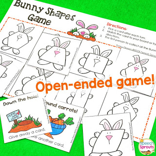 An open-ended bunny shapes game for spring speech therapy.