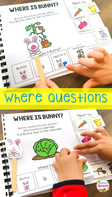 "Where is Bunny? interactive book with a bunny stick puppet and moveable garden-themed pieces. Teach the concept of ""next to"" with this book."