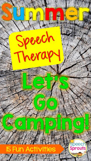 !5 great summer speech therapy activities with a camping theme. Includes storybooks, crafts, a scavenger hunt freebies and more for speech and language fun! www. speechsproutstherapy.com