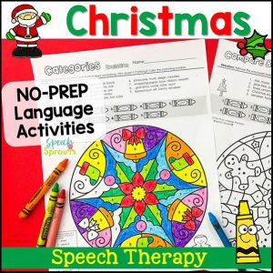 Christmas No-Prep Language with a pretty Mandala pattern to color by Speech Sprouts