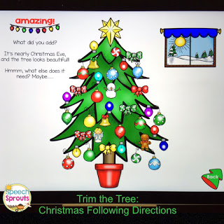 Learn how to use No-Print Activities in speech therapy on your I-Pad or computer like this Christmas Following Directions activity. Portable and no-prep materials that make organization easy. Terrific with toddlers, preschool and autism students. #speechsprouts #speechtherapy #noprint #christmas www.speechsproutstherapy.com