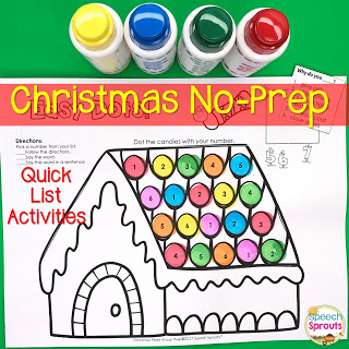 This Gingerbread Dot marker activity is just one of 58 No-prep Christmas speech therapy activities perfect for mixed groups. Print and go open-ended fun with puzzles, color by number, mystery squares and more for PK-4th grade. Includes Christmas questions Quick Lists. #speechsprouts #speechtherapy #Christmas #speechandlanguage #whquestions