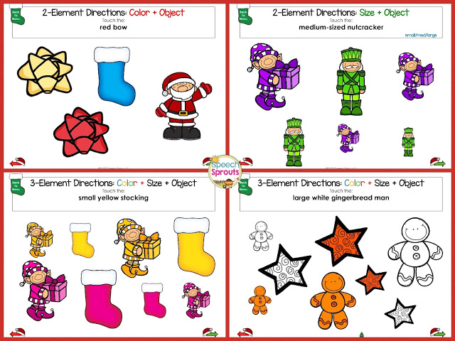 Learn how to use No-Print Activities in speech therapy on your I-Pad or computer like this Christmas Following Directions activity. Portable and no-prep materials that make organization easy. Terrific with toddlers, preschool and autism students. #speechsprouts #speechtherapy #noprint www.speechsproutstherapy.com