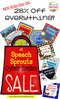 Speech and Language Activities Cyber Sale Nov 30th -Dec 1st www.speechsproutstherapy.com