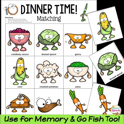 Thanksgiving Speech Therapy Games Freebie: Don't Eat Tom! and Dinnertime! www.speechsproutstherapy.com
