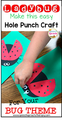 Gluing wiggle eyes above hole-punched red ladybug wings makes this easy preschool ladybug craft adorable for speech therapy  www.speechsproutstherapy.com