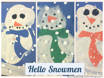 Make a Snowman in a Snowstorm: Easy Winter Craft for January- Recycle your leftover lamination to make these cute snowmen! www.speechsproutstherapy.com