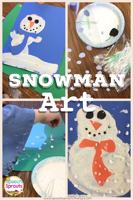 Make a Snowman in a Snowstorm: Easy Winter Craft for January- Recycle your leftover lamination to make cute snowmen! www.speechsproutstherapy.com