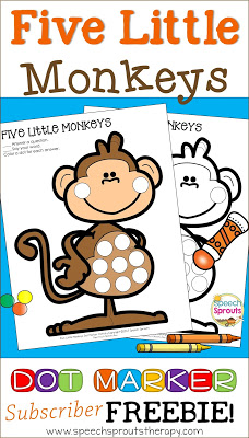Five Little Monkeys Jumping on the Bed - Get this free dot marker activity www.speechsproutstherapy.com