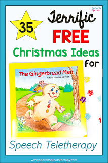 35 Terrific FREE Christmas Speech Therapy Ideas for Teletherapy. The pictured Gingerbread Man Book is just one of ideas. #speechsprouts