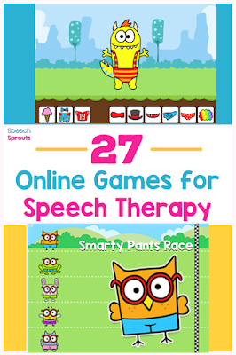 Grab this list of online speech therapy games for open-ended fun in teletherapy! Make planning easy with games for toddlers, preschoolers and games for older kids too. This will be your go-to list! www.speechsproutstherapy.com #speechsprouts #speechtherapygames  #speechtherapy #teletherapy