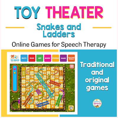 Teletherapy speech therapy activities like these 27 open-ended online games make planning easy! Find easy games for toddlers like Build a Monster and great games for bigger kids like Frost Bite and Snakes and Ladders. #speechsprouts #speechtherapygames  #speechtherapy #teletherapy