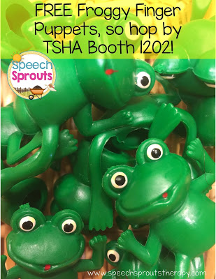 FREE Froggy Finger puppets at TSHA www.speechsproutstherapy.com
