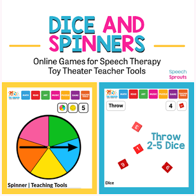Find 27 terrific teletherapy speech therapy activities including open-ended online games, spinners and dice that make planning easy!  #speechsprouts #speechtherapygames  #speechtherapy #teletherapy