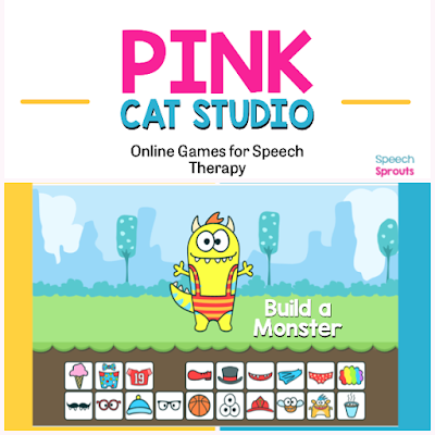 Teletherapy speech therapy activities like these 27 open-ended online games make planning easy! Find easy games for toddlers like Build a Monster and great games for bigger kids like Frost Bite and Basketball. #speechsprouts #speechtherapygames  #speechtherapy #teletherapy