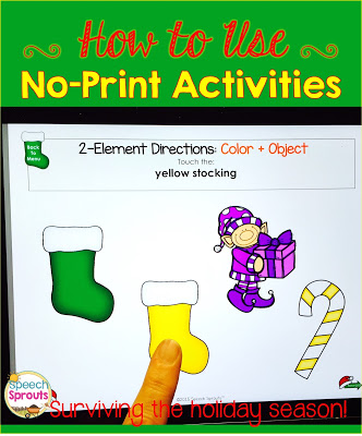 Learn how to use No-Print Activities in speech therapy on your I-Pad or computer! Portable and no-prep materials that make organization easy. Terrific with toddlers, preschool and autism students. #speechsprouts #speechtherapy #noprint www.speechsproutstherapy.com