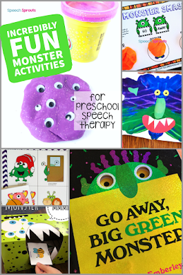 A collage of fun monster theme activities for preschool speech therapy including the Go Away Big Green Monster book, monster craft ideas, speech therapy materials and games by Speech Sprouts