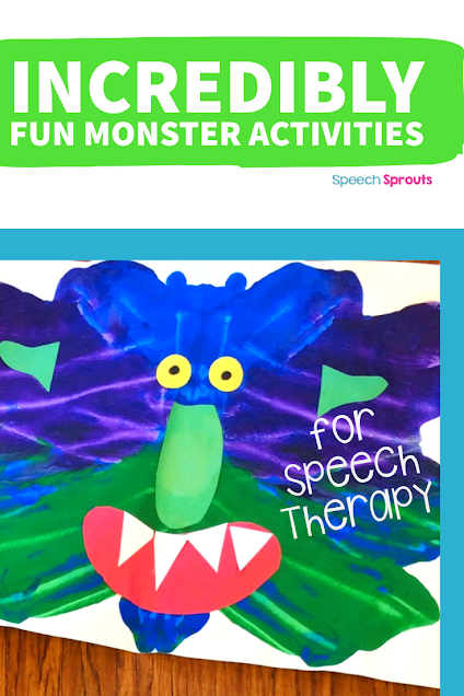 "A fun monster art activity for preschool speech therapy. This  purple and green ""Squish Monster"" face was made with tempera paint and cut-out construction paper body parts."